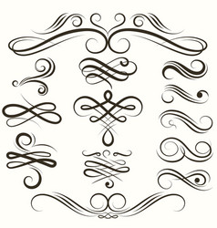 vintage flourish swirls collection vector image