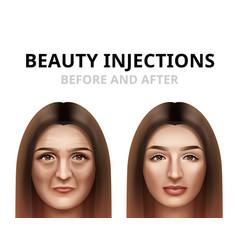 Woman having facial beauty injection vector
