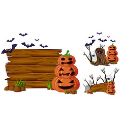 Wooden board and jack-o-lantern vector