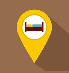 Yellow map pointer with symbol hotel icon vector