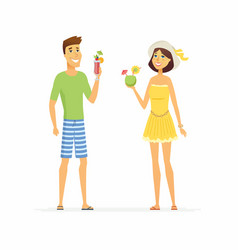 Young couple on beach holiday - cartoon people vector