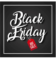 black friday big sale handmade lettering tag price vector image