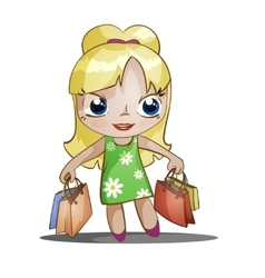 chibi girl with purchases vector image vector image