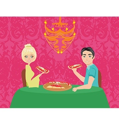 Couple enjoying pizza vector image vector image