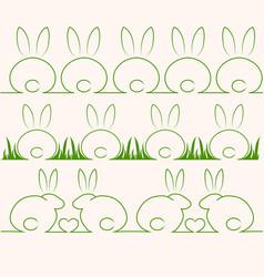 cute rabbits or bunnys vector image vector image