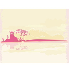 old paper with Chinese Temple on Asian Landscape vector image vector image