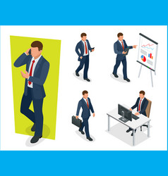 set of businessman man on white background vector image vector image