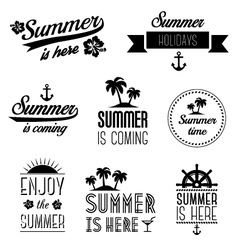 Set of summer holidays typography labels and signs vector image vector image