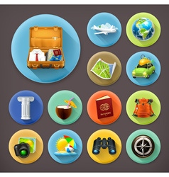 Vacation and Travel long shadow icon set vector image