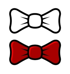 White and Red Bow Tie Icons isolated on White vector image