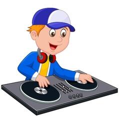 Cartoon DJ boy on white background vector image vector image