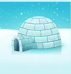 cartoon igloo in polar winter landscape vector image