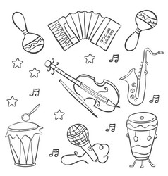 collection music doodle style hand draw vector image