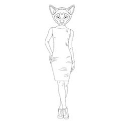 Hand draw cat girl vector image