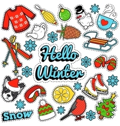 Hello Winter Stickers Badges Patches Decoration vector image