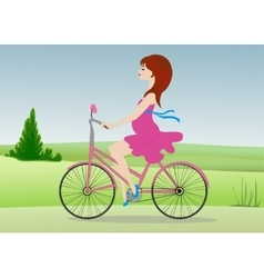 Pregnant woman rides a Bicycle across the field vector image vector image