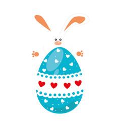 rabbit holding big easter eggs design vector image vector image