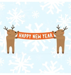 Two cartoon deers holding Happy new year sign vector image vector image