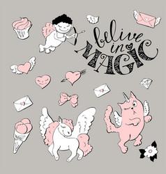 cute princess sticker set with unicorn vector image