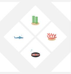 flat icon nature set of scallop seaweed shark vector image vector image