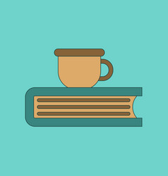 flat icon thin lines book cup vector image