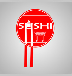 poster with red circle and sushi bar logo on and vector image