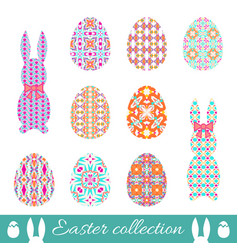 set of easter eggs and bunnies with spring vector image