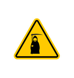 attention death dangers of yellow road sign grim vector image vector image