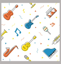 Music Instruments Objects Seamless Pattern vector image