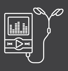 music player line icon mp and device vector image vector image