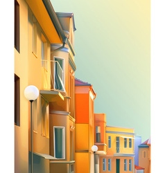 Urban landscape a typical residential street of vector image