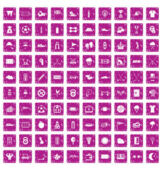100 golf icons set grunge pink vector