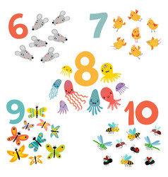 12345 figures and animals for children vector image