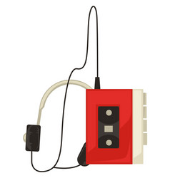 80s music player with headphones listening to vector image