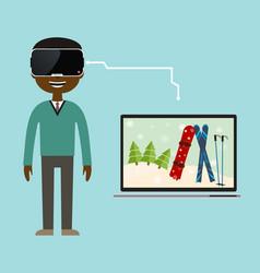 A virtual reality trip to the ski resort vector