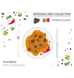 Andorra cuisine european national dish collection vector