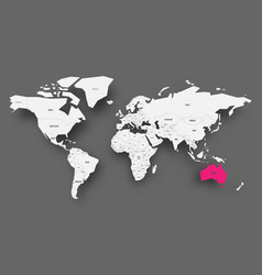 Australia pink highlighted in map of world light vector