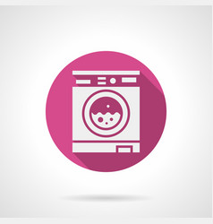automatic washing machine pink round icon vector image