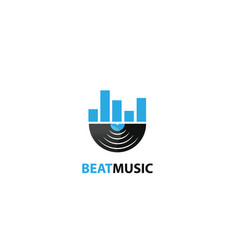 Beat music design logo vector