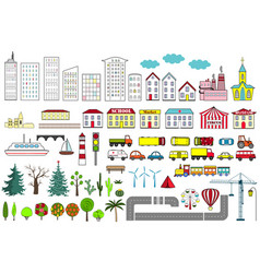 big set of city elements vector image