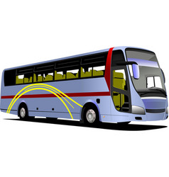Blue tourist or city bus on the road coach vector