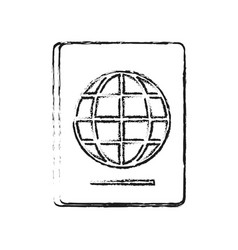 Blurred silhouette passport with globe symbol vector