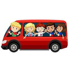 Boys and girls on red van vector