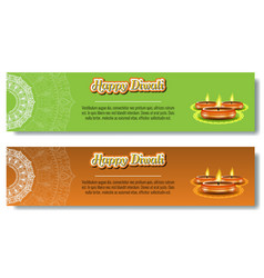 burning diya for diwali holiday vector image
