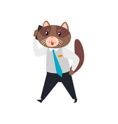 Businessman cat talking on the phone humanized vector