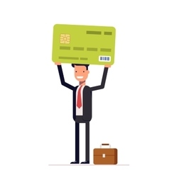 Businessman or manager of bank holding credit card vector