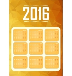 Calendar for 2016 Happy New Year vector image