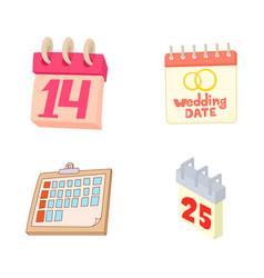 calendar icon set cartoon style vector image