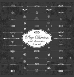 calligraphic dividers with elements on chalkboard vector image