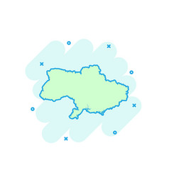 cartoon colored ukraine map icon in comic style vector image